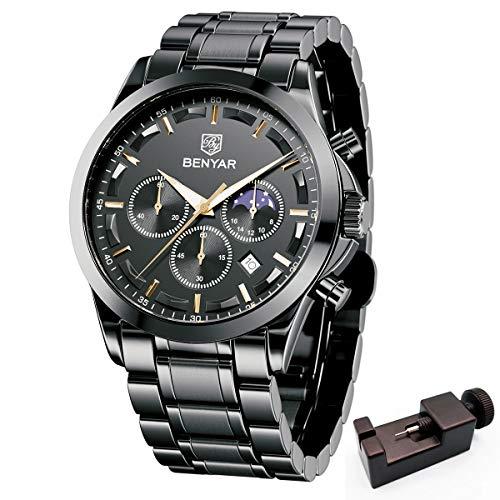 BY BENYAR Benyar orologio uomo orologio acciaio uomo cronografo al quarzo orologi da polso, Sportivo di Moda Business 30 M Impermeabile e Antigraffio Elegante Regalo da Uomo