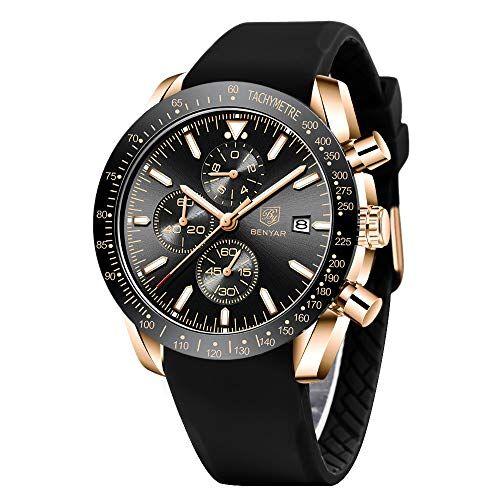 BY BENYAR BENYAR moda uomo al quarzo cronografo impermeabile orologi business casual sport design Cinturino in silicone orologio