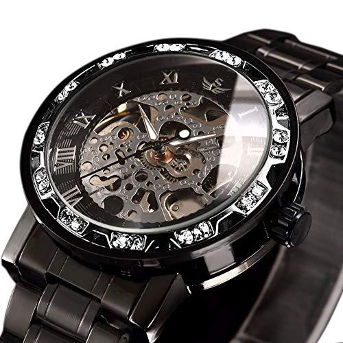 SEWOR Orologi, orologi da uomo Meccanico a carica manuale Scheletro Orologio classico Steampunk in acciaio inossidabile di moda