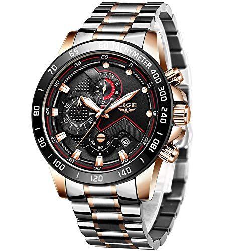 LIGE Orologi da uomo Luxury moda impermeabile cronografo casual sport acciaio inox cinturino da polso business orologio