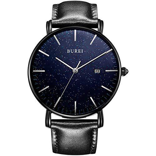 BUREI Orologio al quarzo minimalista da uomo Moda Cassa nera Quadrante blu Lancette argento Datario con cinturino in pelle nera
