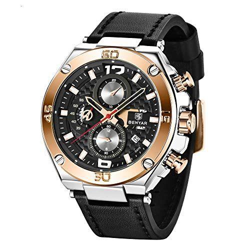 BY BENYAR Benyar orologio uomo orologio cinturino pelle uomo cronografo al quarzo orologi da polso, Sportivo di Moda Business 30 M Impermeabile e Antigraffio Elegante Regalo da Uomo