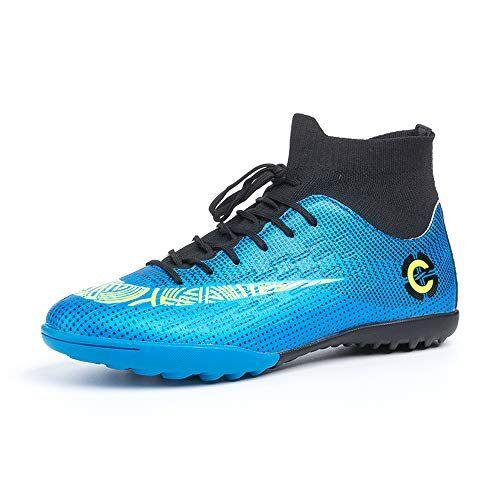 hitmars scarpe da calcio uomo con calzino tacchetti atletica scarpe da allenamento sportive scarpe calcio bambino professionale blu piatto taglia 38