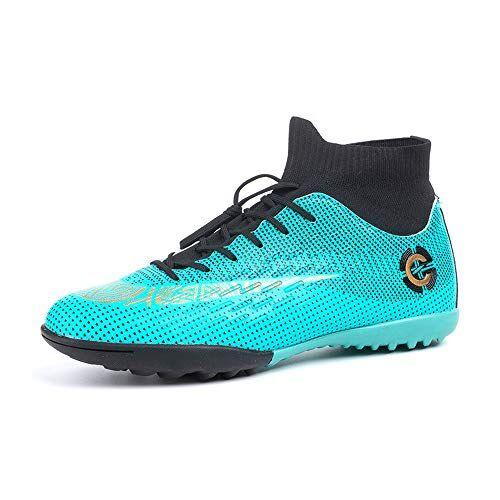 hitmars scarpe da calcio uomo con calzino tacchetti atletica scarpe da allenamento sportive scarpe calcio bambino professionale verde piatto taglia 38
