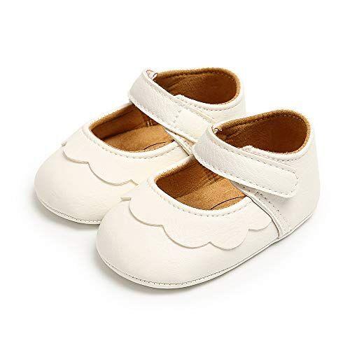 ortego scarpe neonato primi passi scarpine neonata scarpe bambina scarpette antiscivolo per bimba 12-18 mesi in morbida pelle bianco