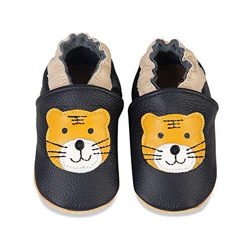 iceunicorn scarpe neonato scarpine primi passi morbida pelle scarpine prima infanzia suola scamosciata carino colorate animali 0 a 24 mesi(nero tigre, 6-12 mesi)