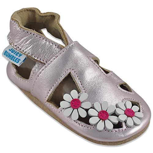 juicy bumbles sandali bambina primi passi - scarpe neonata estive - scarpe bambina in morbida pelle - scarpine neonato - margherite dorati - 12-18 mesi