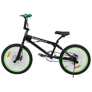 Ridgeyard Bici Bmx Freestyle 20 Pollici Sterzo 3604 Pioli Bmx Bike Nero Verde