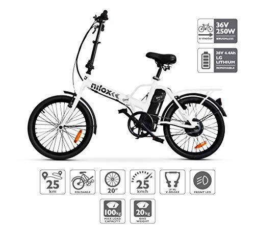 Nilox Doc X1 Bicicletta Elettrica Pieghevole, Motore 36v, Unisex - Adulto, Bianco