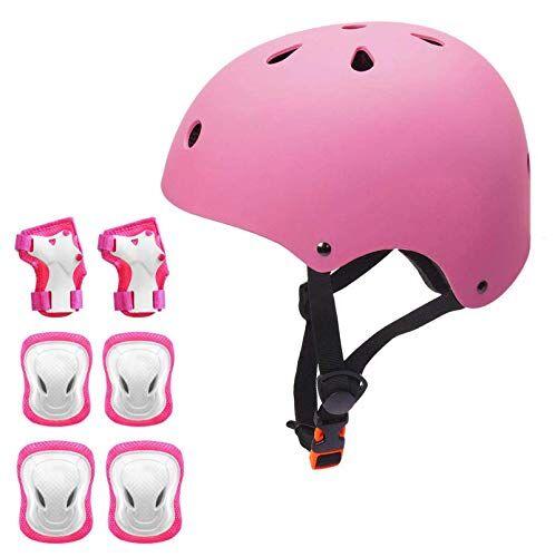 korimefa set di casco protezione bambini casco bici, ginocchiere, gomitiere e protezione polso per bambini da 3-13 anni, casco per hoverboard, scooter, pattini, bmx e bicicletta (rosa, s)