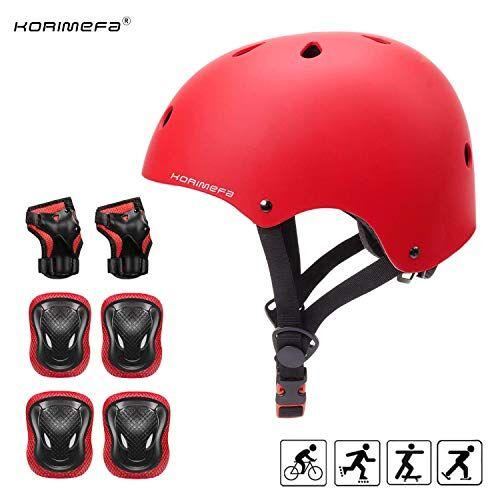korimefa set di casco protezione bambini casco bici, ginocchiere, gomitiere e protezione polso per bambini da 3-13 anni, casco per hoverboard, scooter, pattini, bmx e bicicletta (rosso, s)