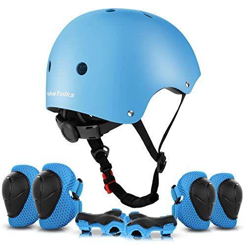 valuetalks set di casco protezione per bambini consiste di ginocchiere gomitiere e protezione polso per pattini a rotella,skateboard, bicicletta, hoverboard e altri sport estremi(blue)
