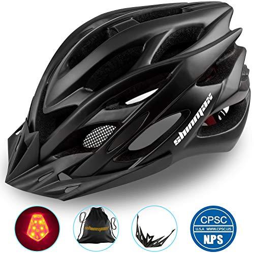 Shinmax Specializzata del Casco Bici con Luce Sicurezza Sport Regolabile Bicicletta Casco della Bici Caschi Bicicletta per Strada Bike Uomini Donne Et Giovent Racing Protezione Sicurezza(Nero)