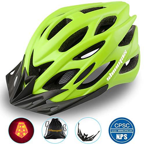 Shinmax Specializzata del Casco Bici con Luce Sicurezza Sport Regolabile Bicicletta Casco della Bici Caschi Bicicletta per Strada Bike Uomini Donne Et Giovent Racing Protezione Sicurezza(Verde)