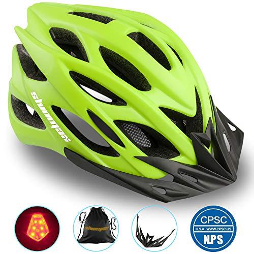 Shinmax Casco Bici con Luce LED,Certificato CE per la Sicurezza,Casco per Adulti Leggero con Visiera Rimovibile/Donne/Giovani per Montagna e Strada Skateboarding Sci & Snowboard