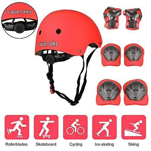 valuetalks protezione di casco bambini, ginocchiere gomitiere e protezione polso per pattini a rotella,skateboard, bicicletta, hoverboard e altri sport estremi (red)