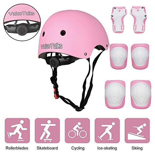 valuetalks protezione di casco bambini, ginocchiere gomitiere e protezione polso per pattini a rotella,skateboard, bicicletta, hoverboard e altri sport estremi(pink)