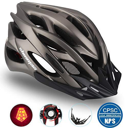 Shinmax Casco Bici con Luce di Sicurezza Uomo Donne Mountain, Certificato CE, Sicurezza Casco RegolabileProtezione Visiera a Scudo Casco da Ciclismo Unisex Casco da Bicicletta Superleggero