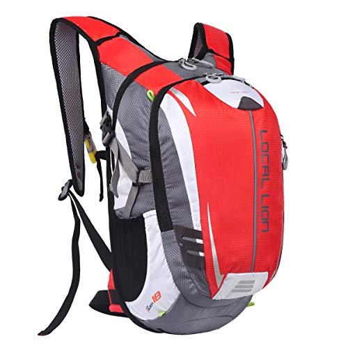 locallion zaino per ciclismo 18l unisex zainetto sportivo porta sacca di acqua da trekking escursione ultraleggero alpinismo zaini per corsa rosso