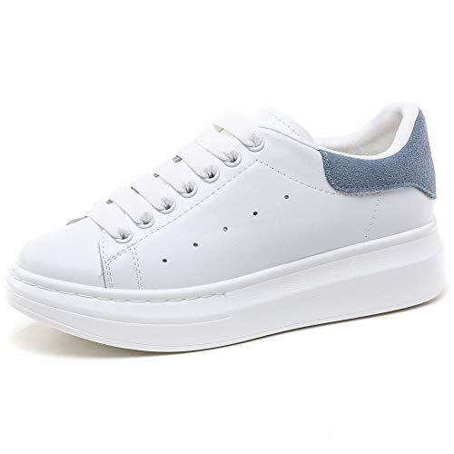 YORWOR Scarpe da Ginnastica Basse Donna Sneaker Platform Outdoor Suola Comoda con Piattaforma Leggera Bianco Blue EU 40