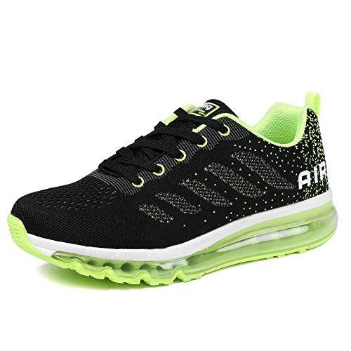 frysen Uomo Donna Air Scarpe da Ginnastica Corsa Sportive Fitness Running Sneakers Basse Interior Casual all'Aperto Black Green 37 EU