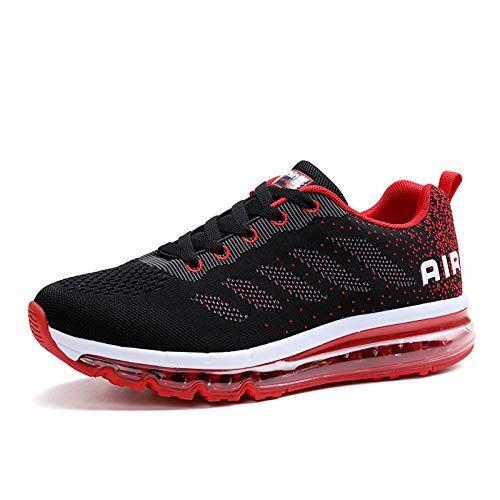 frysen Uomo Donna Air Scarpe da Ginnastica Corsa Sportive Fitness Running Sneakers Basse Interior Casual all'Aperto Black Red 37
