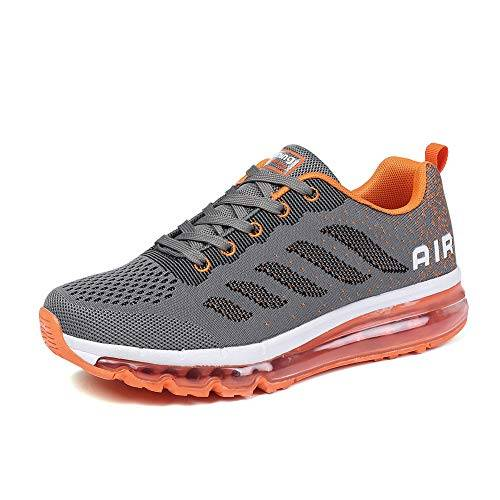 frysen Uomo Donna Air Scarpe da Ginnastica Corsa Sportive Fitness Running Sneakers Basse Interior Casual all'Aperto Gray Orange 40 EU