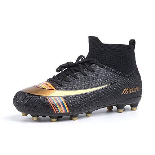 hitmars scarpe da calcio uomo con calzino tacchetti atletica scarpe da allenamento sportive scarpe calcio bambino professionale stile b nero taglia 41