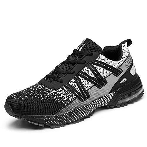 iceunicorn scarpe running sneakers donna uomo sport scarpe da ginnastica trekking fitness respirabile corsa leggero casual all'aperto(8901-nero/b,45eu)