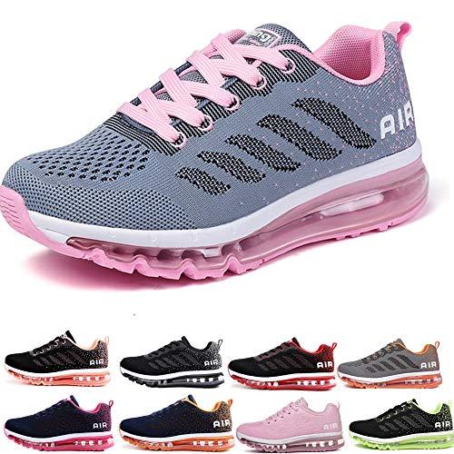 frysen Uomo Donna Air Scarpe da Ginnastica Corsa Sportive Fitness Running Sneakers Basse Interior Casual all'Aperto Gray Pink 40 EU