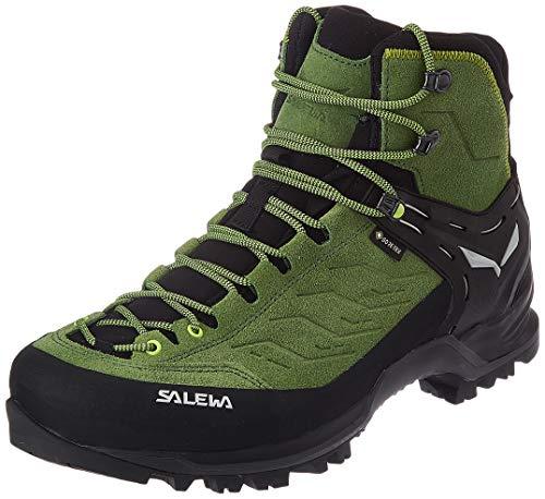 salewa ms mountain trainer mid gore-tex, scarponi da trekking e da escursionismo uomo, blu (myrtle/fluo green), 45 eu