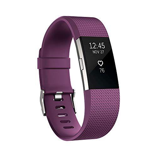 Fitbit Charge 2, Braccialetto per Fitness e Battito Cardiaco Unisex-Adulto, Prugna, Large