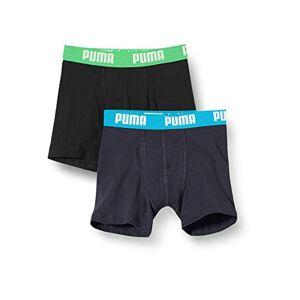 Puma Boys Basic Boxer 2P Pantaloncino, Multicolore (India Ink/Turquoise 376), 16 Anni (Pacco da 2) Bambino
