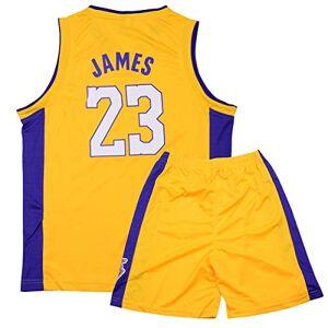 Sokaly Ragazzi Adulto Chicago Bulls Jorden # 23 Curry#30 James#23 Boston Pantaloncini da Basket Jersey Set di Abbigliamento Sportivo Maglie Top e Shorts (altezza 100-180cm) (Giallo#Lakers, S(bambino))