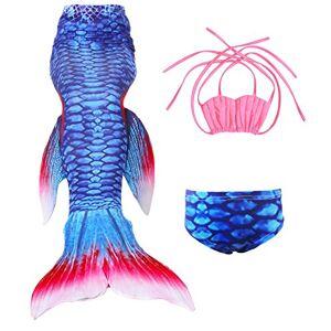 Le SSara Ragazze Shark Cosplay Costume costumi da bagno sirena Shell Swimsuit Sets (120, A rosa + azzurro)