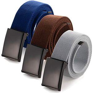 Mile High Life Cintura in tela regolabile, adatta a girovita fino a 132,1 cm, con fibbia militare nera tinta unita a scatto (16 colori e confezioni combinate) 3 Pack Brown/Blue/Grey