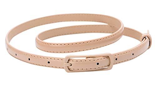 Selighting Moda Cintura Sottile in Pelle per Vestito Estate Accessori Cinture con Fibbia in Lega per Jeans, Abito, Camicia, di Solid Color (Cachi)