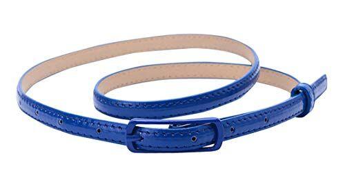 Selighting Moda Cintura Sottile in Pelle per Vestito Estate Accessori Cinture con Fibbia in Lega per Jeans, Abito, Camicia, di Solid Color (Blu)
