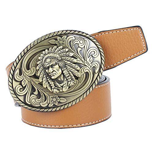 Baoblaze Cintura Cowboy Indiano Ovale Morbido Con Fibbia Confortevole Accessorio Moda Per Uomo - Marrone, 120 cm