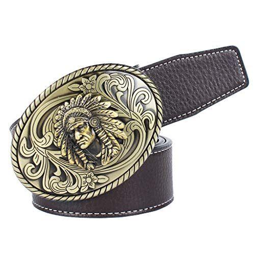Baoblaze Cintura Cowboy Indiano Ovale Morbido Con Fibbia Confortevole Accessorio Moda Per Uomo - caff, 120 cm