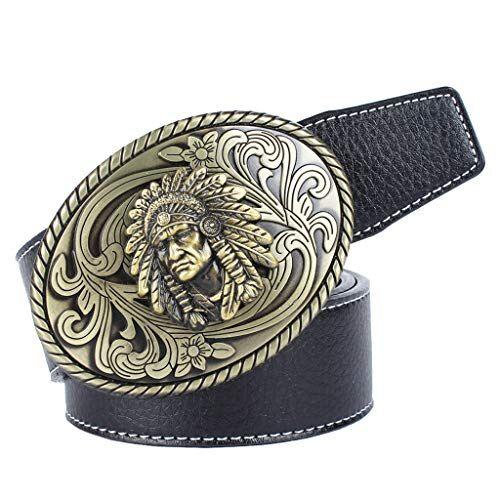 Baoblaze Cintura Cowboy Indiano Ovale Morbido Con Fibbia Confortevole Accessorio Moda Per Uomo - Nero, 120 cm