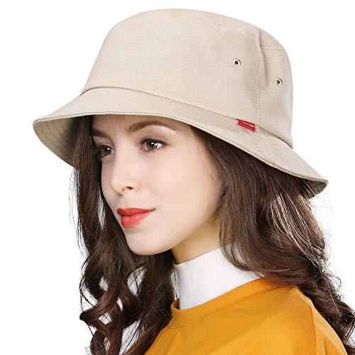 Comhats - Cappello da donna da pesca, in cotone UV, pieghevole, per giardinaggio, escursionismo, caccia, boonie, viaggi, accessori alla moda, regolabile, colore: beige