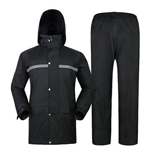 yiiquan unisex adulto pantaloni e giacche impermeabil, tuta antipioggia completo per bici moto (nero, asia 4xl)