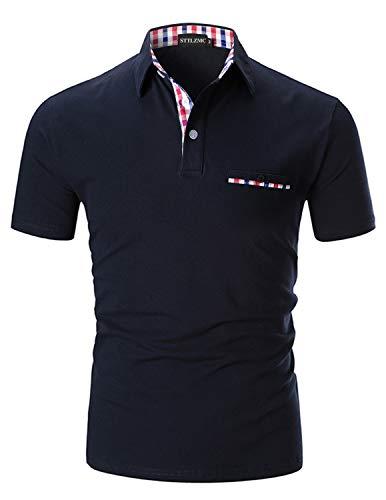 STTLZMC Moda Polo Uomo Manica Corta con Plaid Cotone T-Shirt Tops Tennis,Blu,M