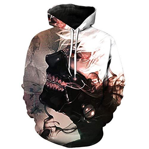 Laisla fashion Felpa con Cappuccio da Uomo Tokyo Ghoul 3D A Classiche Maniche Lunghe Pullover Unisex Autunno Inverno Moda Casual Allentato Streetwear Felpe con Cappuccio Felpa con Cappuccio Ragazzi