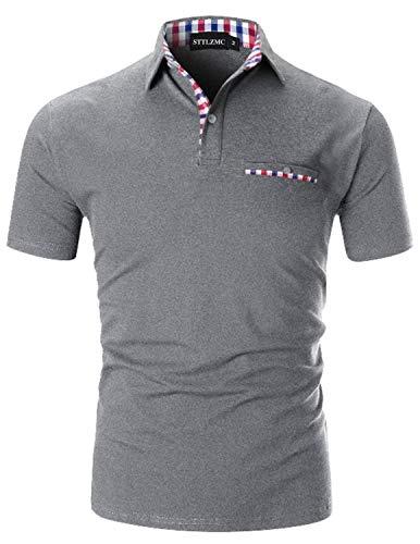 STTLZMC Moda Polo Uomo Manica Corta con Plaid Cotone T-Shirt Tops Tennis,Grigio,XXL