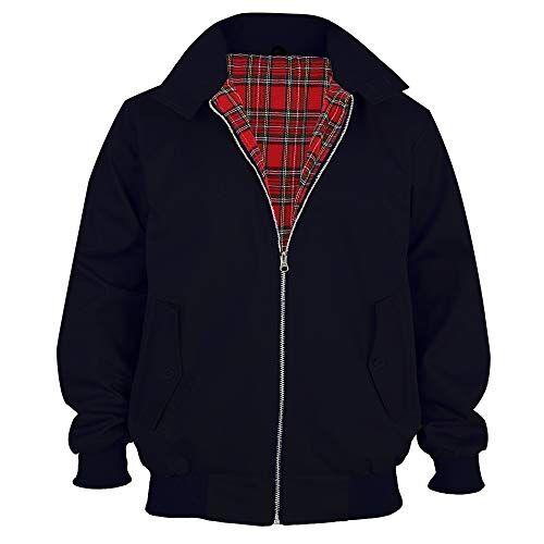 Parsa Fashions Malaika Giacca Harrington da uomo, stile classico, vintage, rétro, anni 70, modello bomber, alla moda, disponibile in taglie forti (da XS a XXXXXL) Nero M