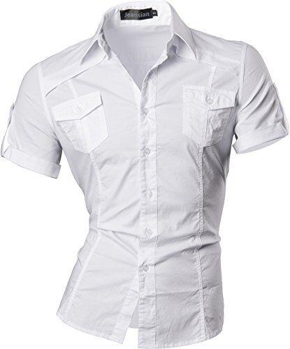 jeansian Uomo Camicie Manica Corta Moda Men Shirts Slim Fit Casual Fashion 8360 White M