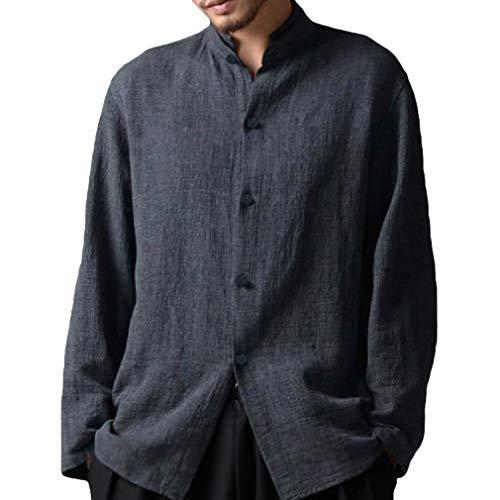 Mxssi Manica Lunga Camicia per Uomo - Moda Tinta Unita Collo Coreano Camicie Uomo Bottoni Casual Camicia Primavera Autunno Shirts Tops Taglie Forti