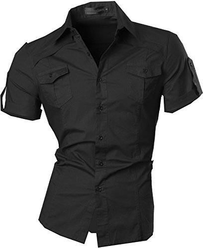 jeansian Uomo Camicie Manica Corta Moda Men Shirts Slim Fit Casual Fashion 8360 Black M
